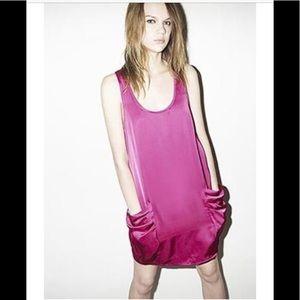 Reiss Sheath Dress Magenta 10 Pockets Sleeveless